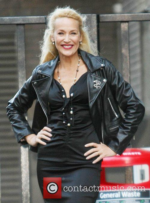 Jerry Hall outside the ITV studios London, England