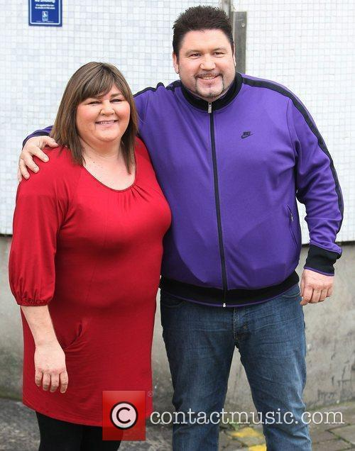 Cheryl Fergison and Ricky Grover outside the ITV...