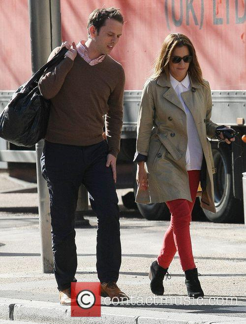 Caroline Flack and male companion at the ITV...