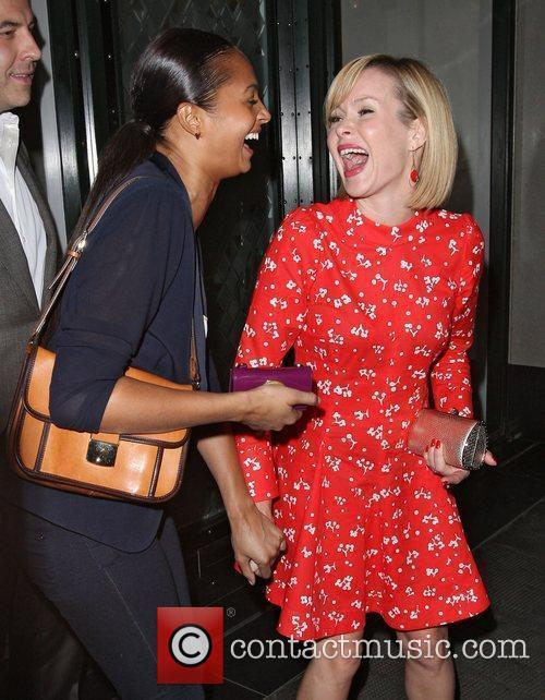 Alesha Dixon and Amanda Holden leaving the Ivy...