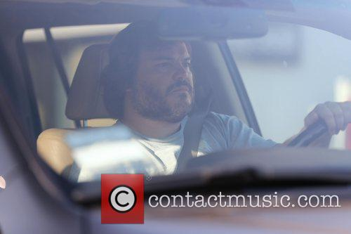 Jack Black driving through Beverly Hills