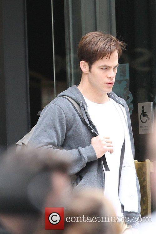 Chris Pine 'Jack Ryan' filming outside London School...