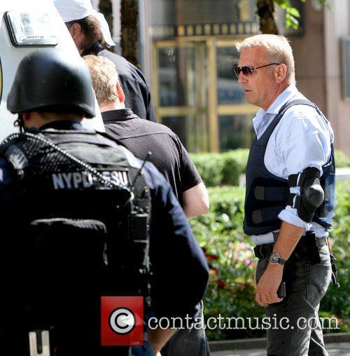 Kevin Costner Filming scenes for 'Jack Ryan' in...