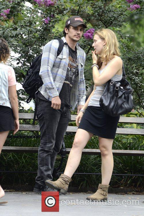 James Franco strolling in Washinton Sqaure Park in...