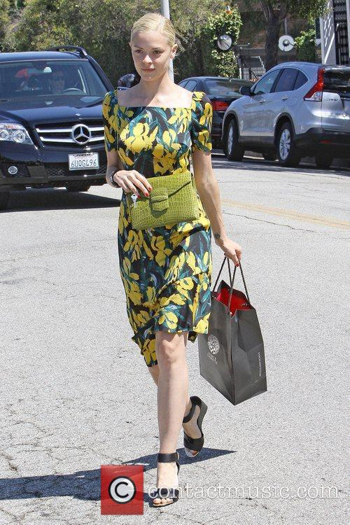 Actress Jaime King heads to her car after...
