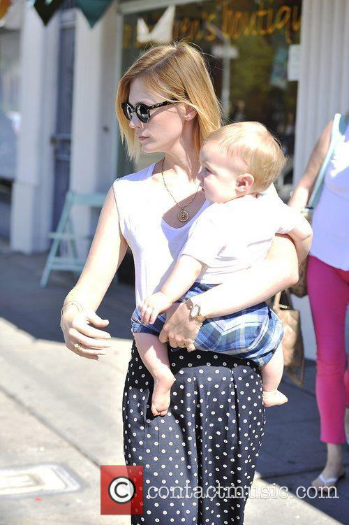 January Jones  and her baby son Xander...