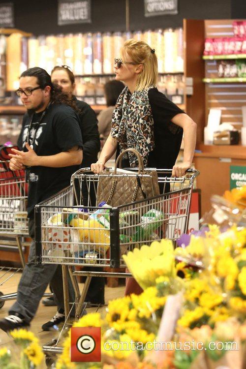 January Jones is seen leaving Whole Foods in...