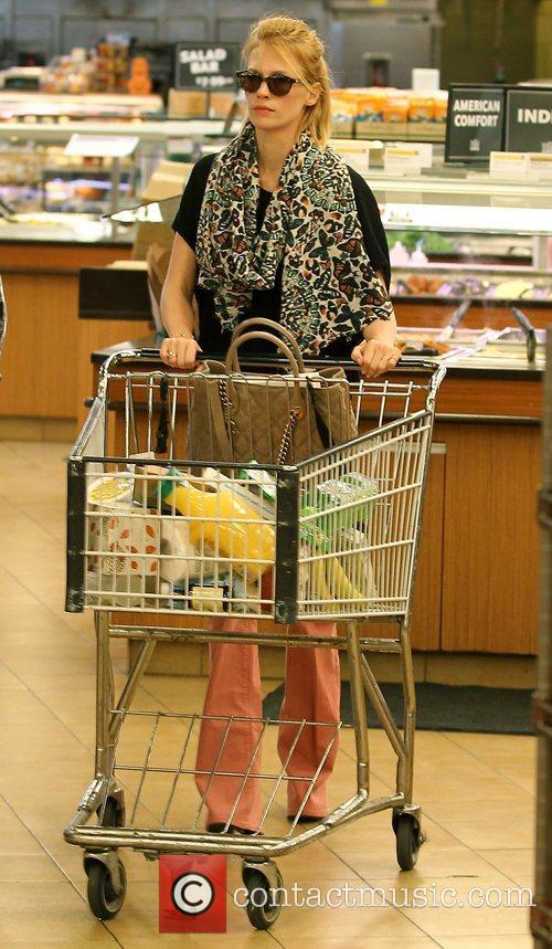 January Jones shops at Whole Foods in Pasadena...