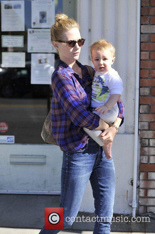 January Jones seen with her son Xander shopping...