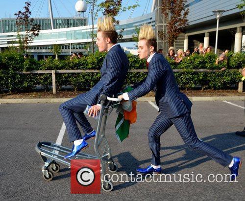John Grimes and Edward Grimes, aka Jedward arrive...
