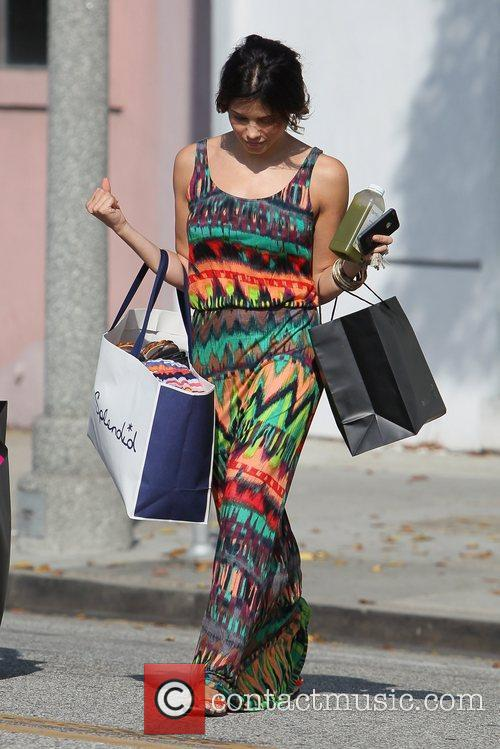 Actress Jenna Dewan seen wearing a colorful maxi...