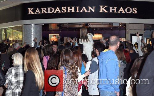 Fans gather outside Kardashian Khaos inside The Mirage...