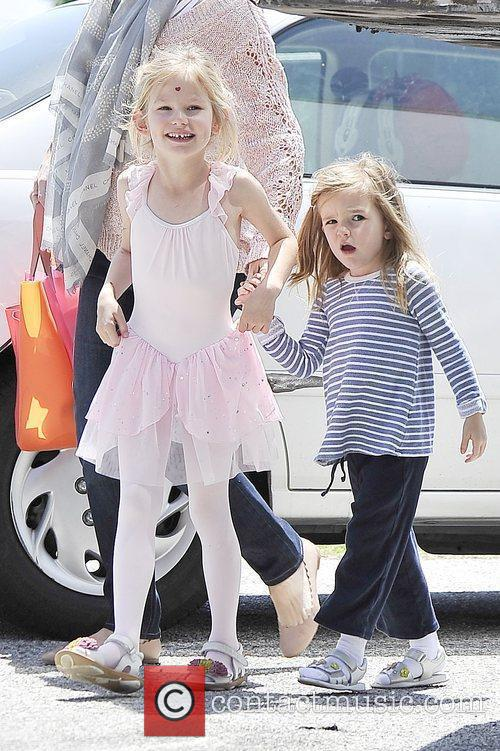Violet Affleck and Seraphina Affleck are seen heading...