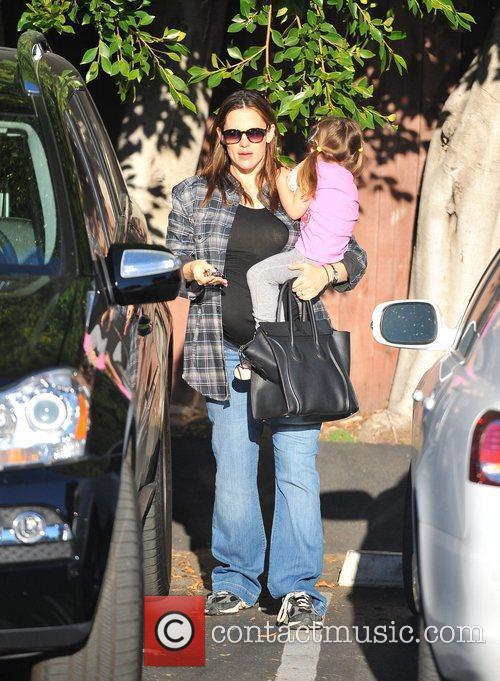 Pregnant Jennifer Garner and daughter Seraphina Affleck out...