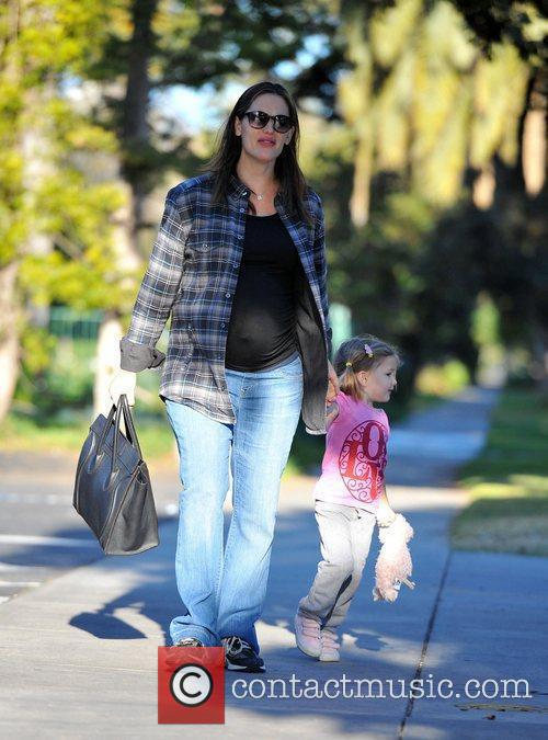 Pregnant Jennifer Garner and daughter Seraphina Affleck out...