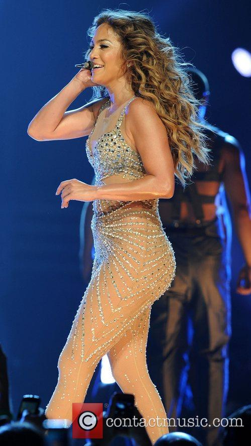 Jennifer Lopez performing in concert at the AmericanAirlines...