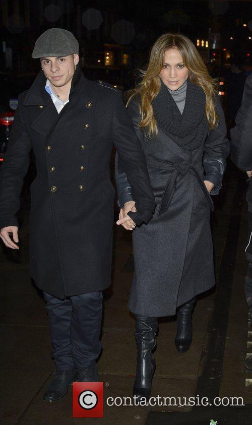 Jennifer Lopez and Casper Smart  leaving Hakkasan...