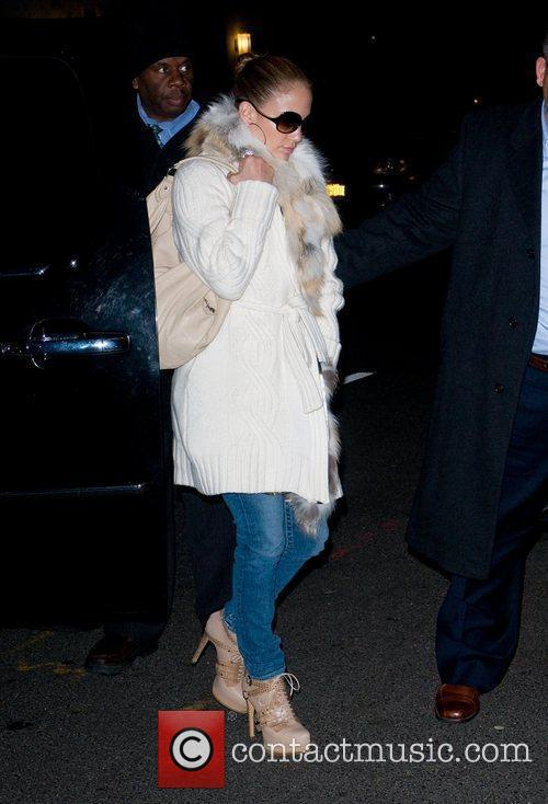 Jennifer Lopez arrives at her Manhattan hotel with...
