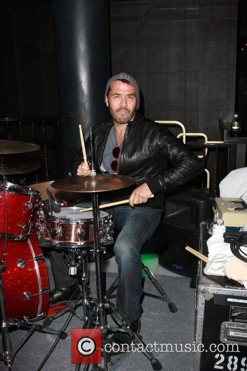 Jeremy Piven at a soundcheck for his band...