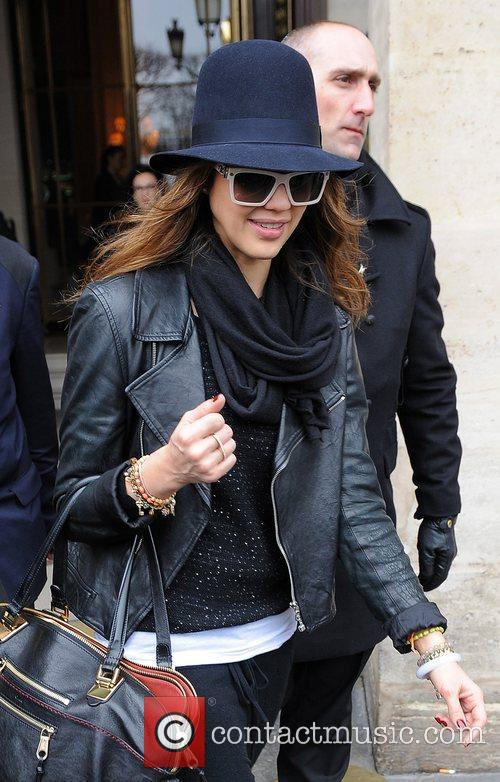 Jessica Alba leaving her hotel.