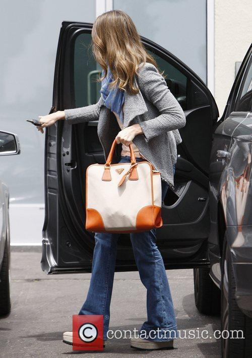 Jessica Alba arrives at her office in Santa...