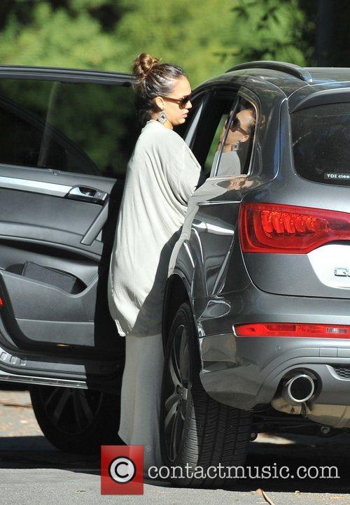 Jessica Alba is seen getting into her car...