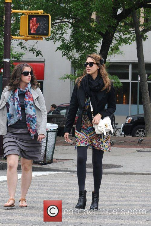 Jessica Alba and a friend are seen taking...