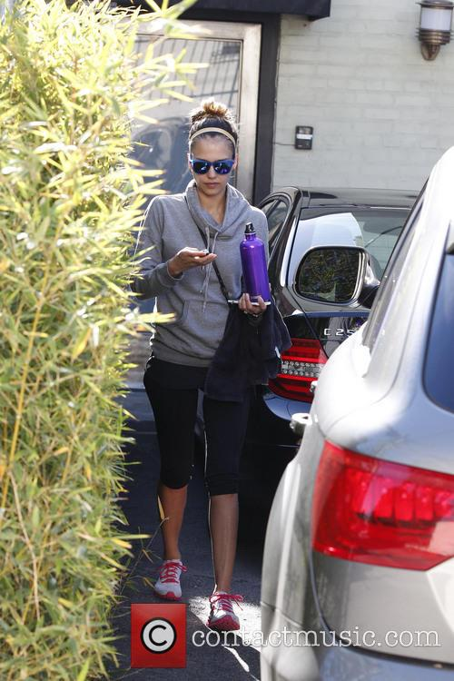 Jessica Alba is seen after a gym workout...