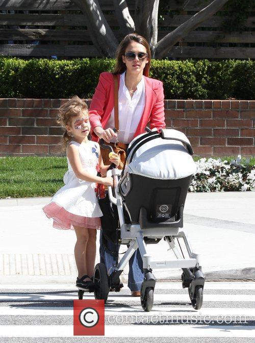 Jessica Alba and daughter Honor Marie Warren leaving...