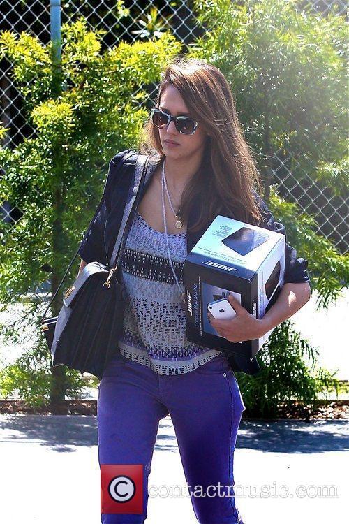 Jessica Alba is seen running errands in Santa...