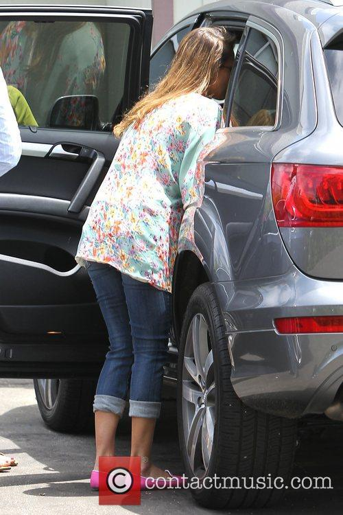 Jessica Alba is seen heading to an office...
