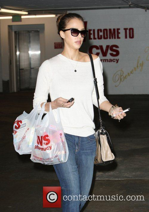 Jessica Alba shopping at CVS in Beverly Hills.