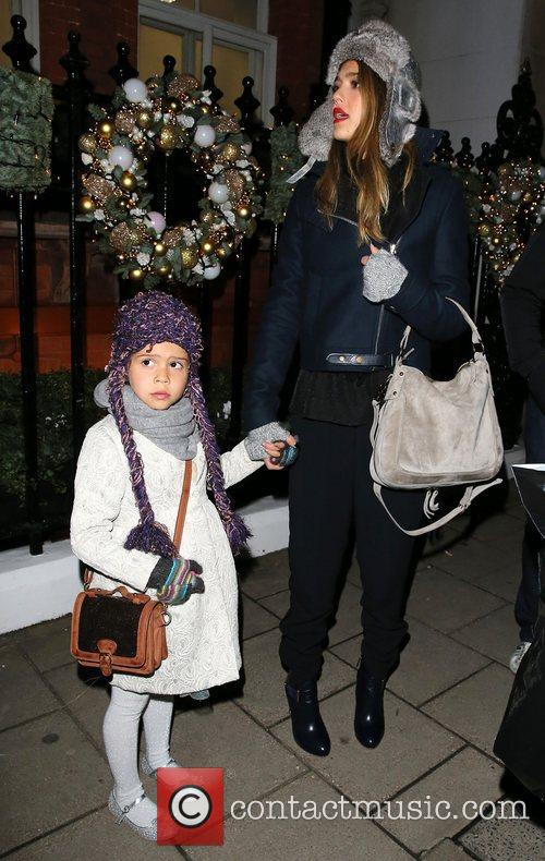 Jessica Alba and daughter Honor Marie Warren leaving...