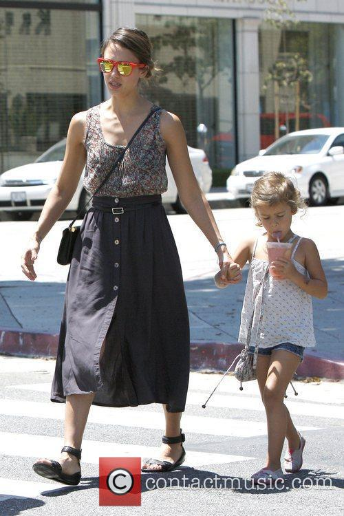 Jessica Alba and Honor Marie Warren are seen...