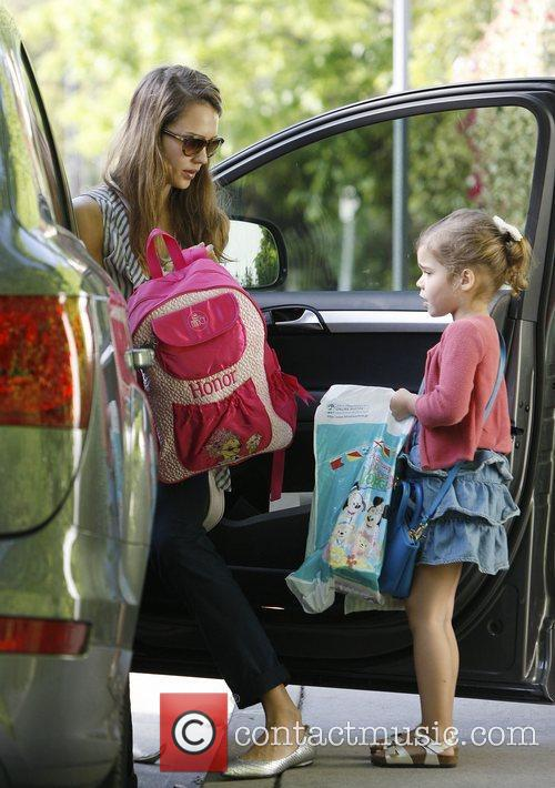 Jessica Alba with daughter Honor Marie Warren out...