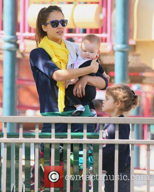 Jessica Alba with daughters Haven Warren and Honor...