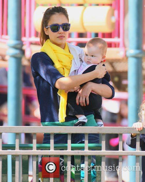 Jessica Alba with new daughter Haven Warren spending...