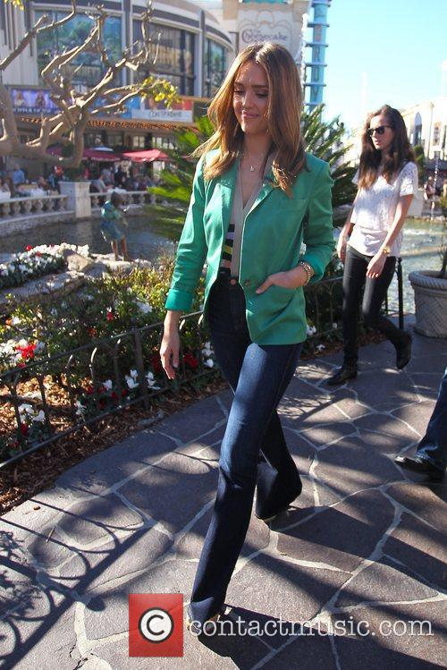 Jessica Alba appears on 'Extra' at The Grove...