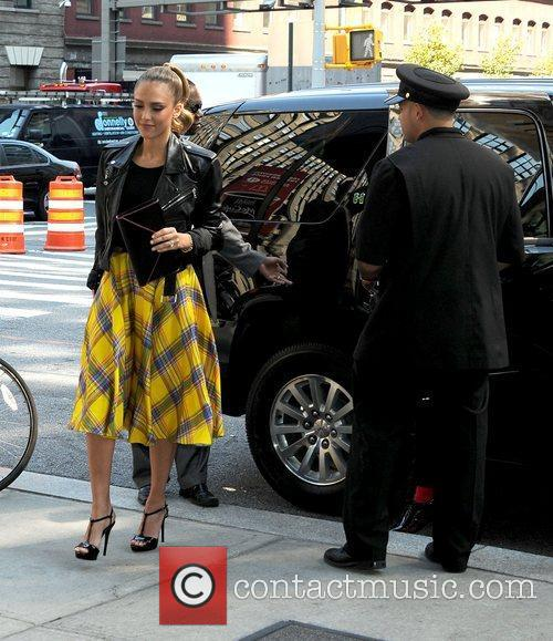 Jessica Alba returns to her Manhattan hotel wearing...