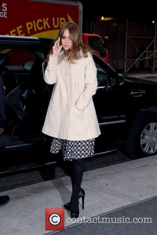 Jessica Alba arrives at her Manhattan Hotel New...