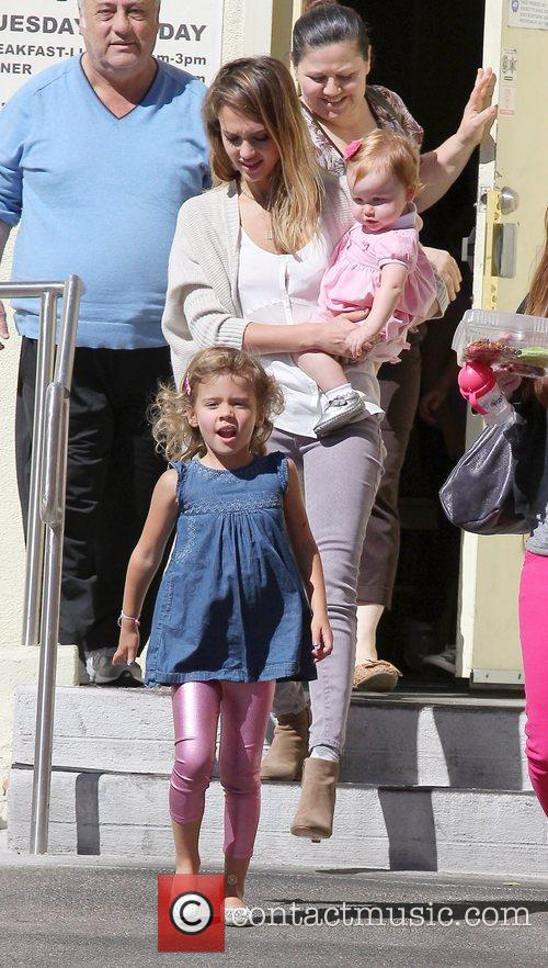 Jessica Alba  seen with her two daughters...