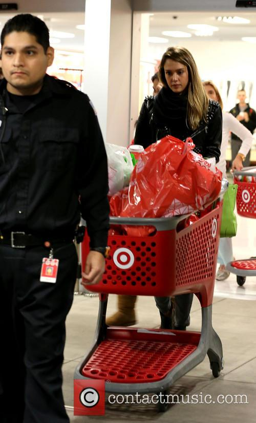 Jessica Alba does some Christmas shopping at Target