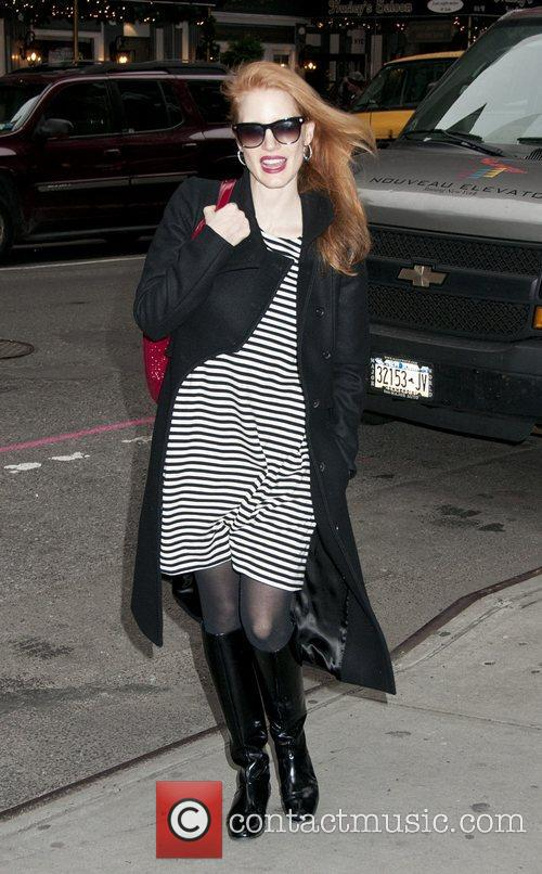 Jessica Chastain at the stage door  of...