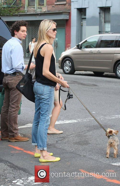 Australian model Jessica Hart out walking her dog...