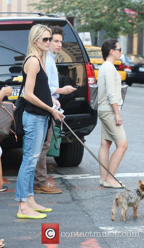 Australian model Jessica Hart out walking her dog