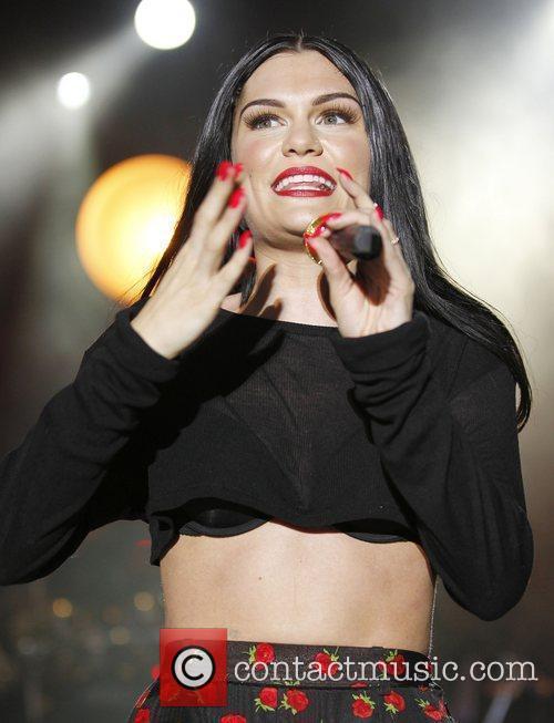 Jessie J performing live on stage at Sandown...