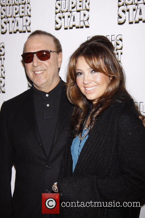 Tommy Mottola and Thalia  Broadway opening night...