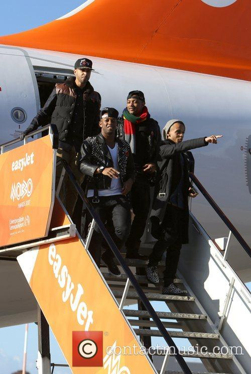 JLS arrive at Liverpool's John Lennon Airport onboard...