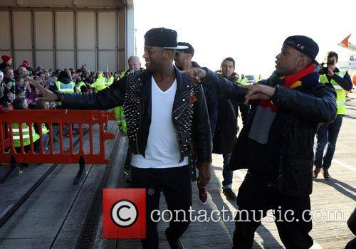 Oritse Williams and Jonathan 'JB' Gill JLS arrive...