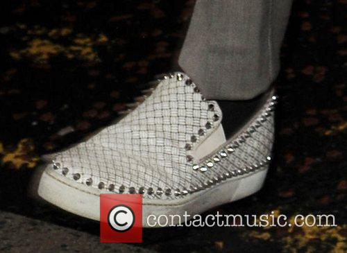 Marvin Humes' studded slip-on shoes  JLS arrive...